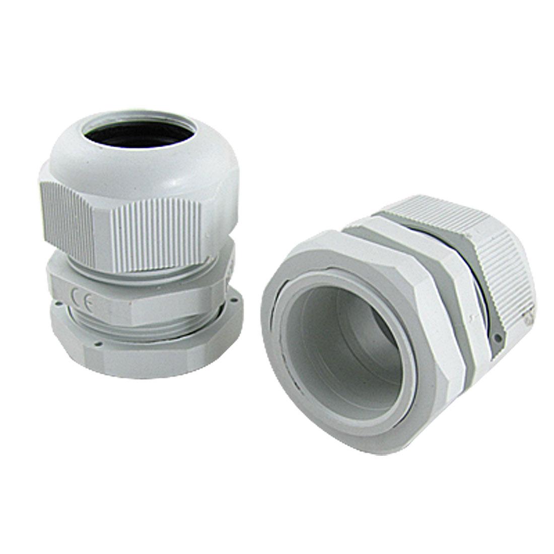 16-21mm Cables Waterproof M32 Wht Plastic Glands 2 Pcs
