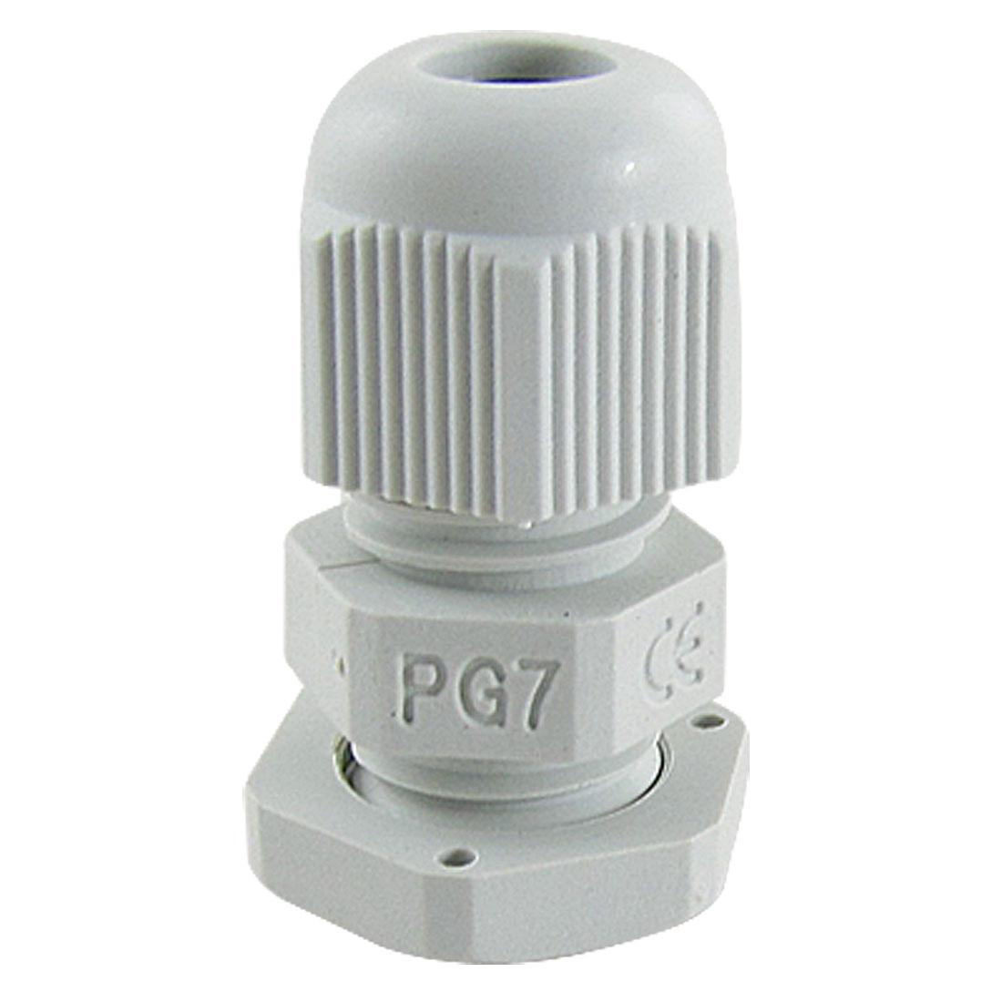 3-6.5mm Cables PG7 Waterproof Wht Plastic Glands 10 Pcs