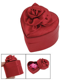 Wedding Gift Flower Ornament Heart Shaped Ring Case Holder Burgundy
