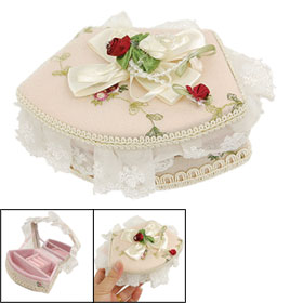 Wedding Beaded Bowknot Beige Fabric Jewelry Box w Mirror