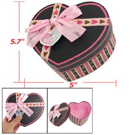 Wedding Ribbon Bowknot Detail Paper Heart Gift Case Box Pink Black