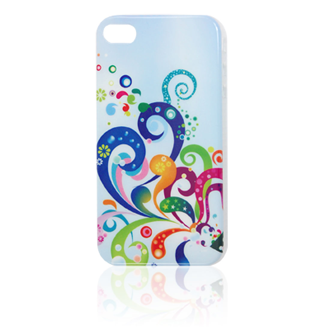Clear Side Plastic Spiral Pattern IMD Back Cover for iPhone 4 4G