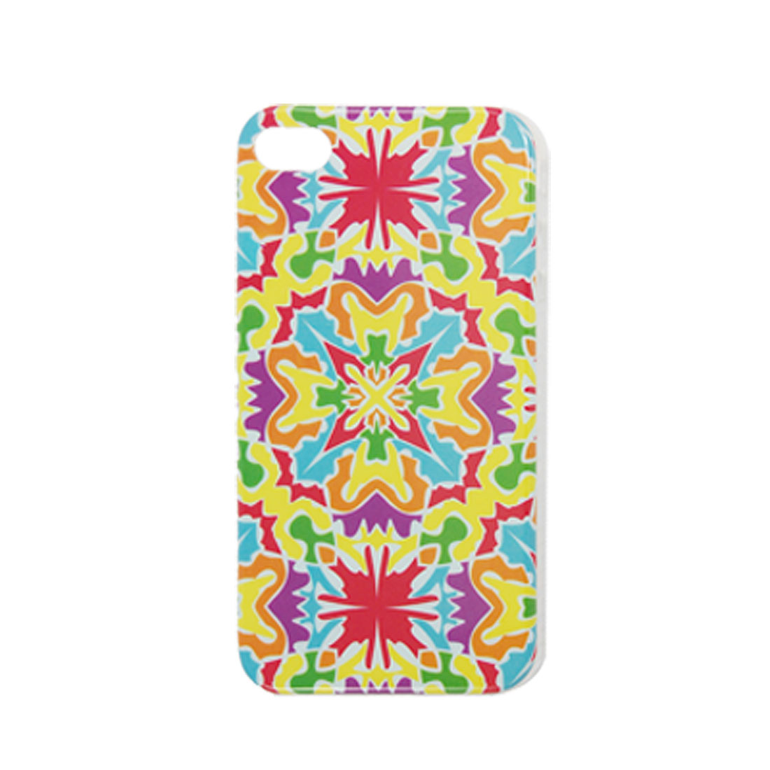Colorful Flower Pattern Plastic IMD Back Case for iPhone 4 4G