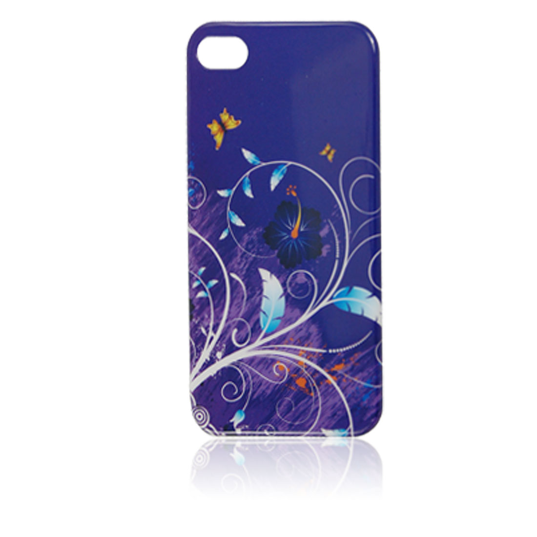 Floral Decor Navy Blue Plastic IMD Back Cover for iPhone 4 4G