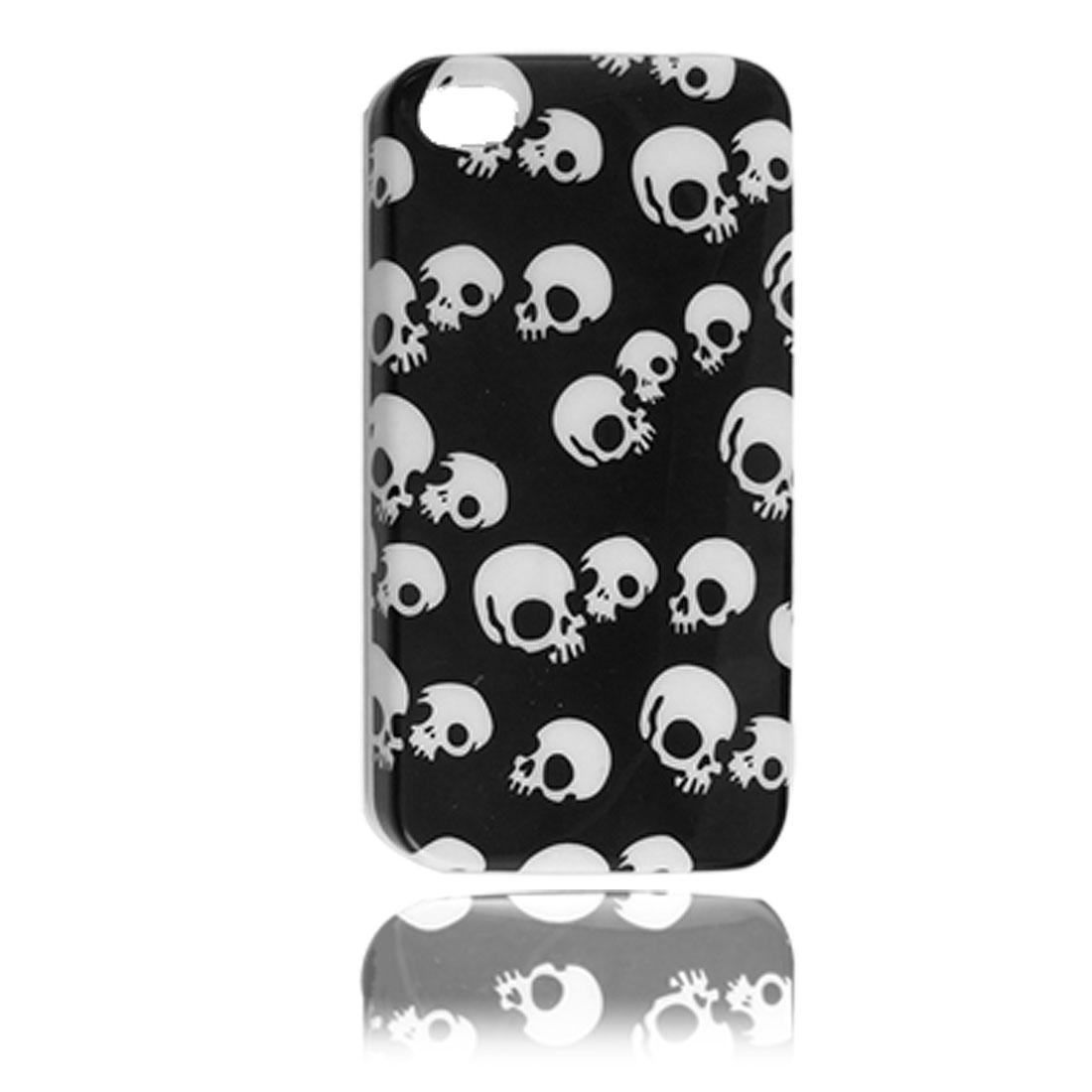IMD White Skull Pattern Black Plastic Back Case for iPhone 4 4G