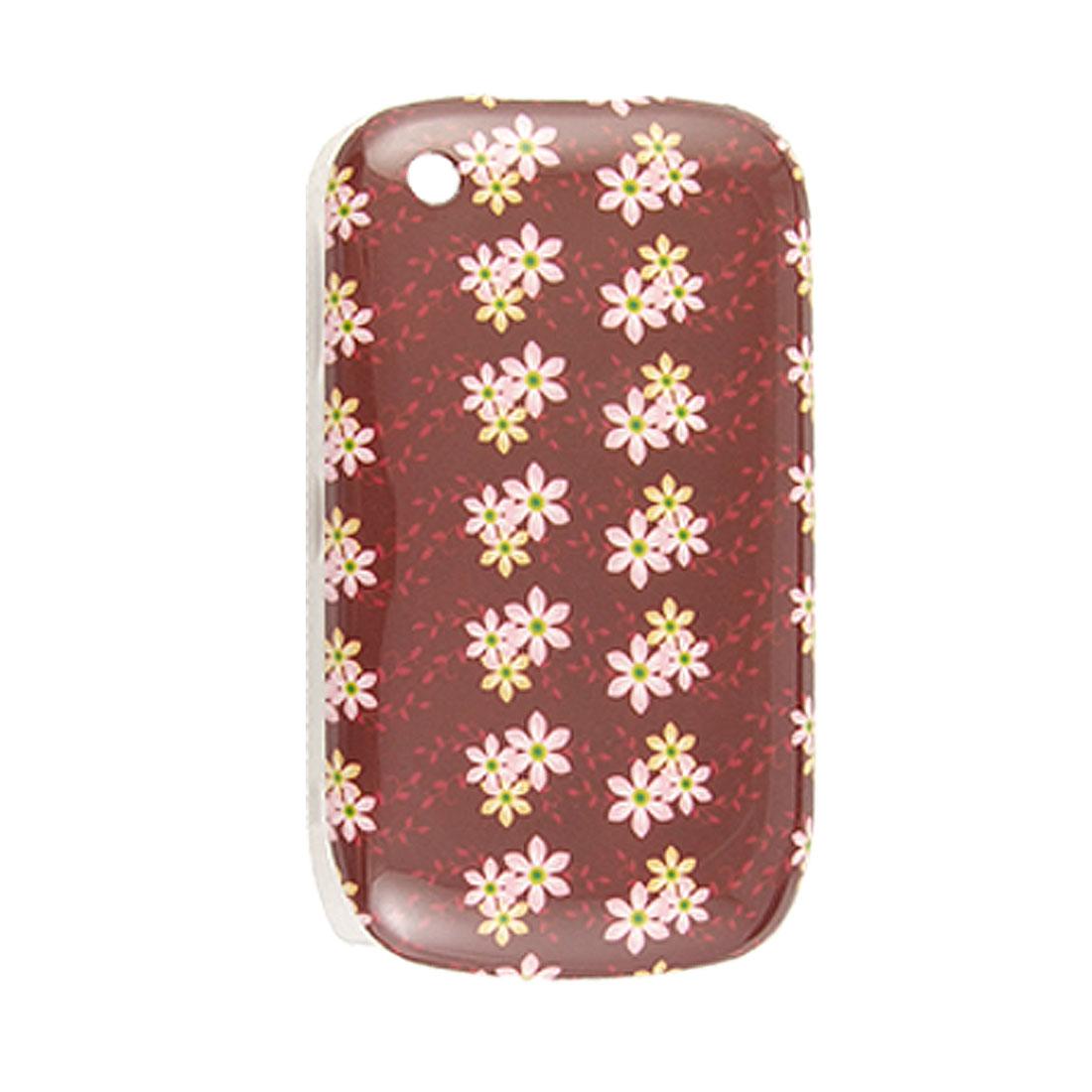 IMD Floral Burgundy Hard Plastic Back Case for Blackberry 8520