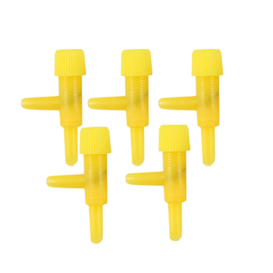 5 Pcs 2 Way Yellow Plastic Air Control Valve for Aquarium