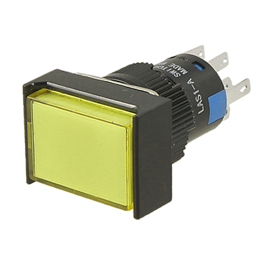 AC 220V Rectangle Yellow Cap Lamp Momentary Contact Push Button Switch