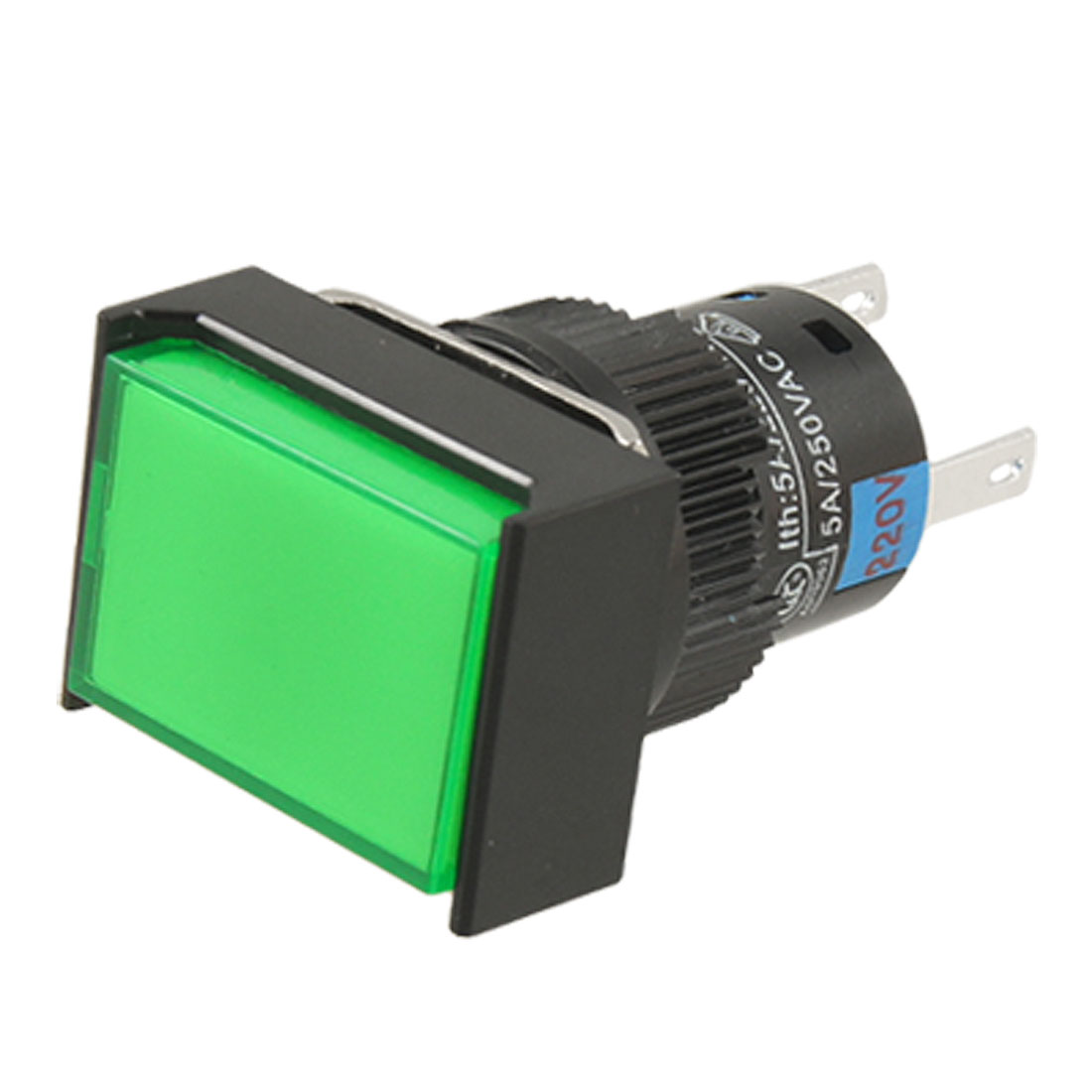 AC 220V Green Cap Lamp 1NO 1NC Self-locking Contact Push Button Switch