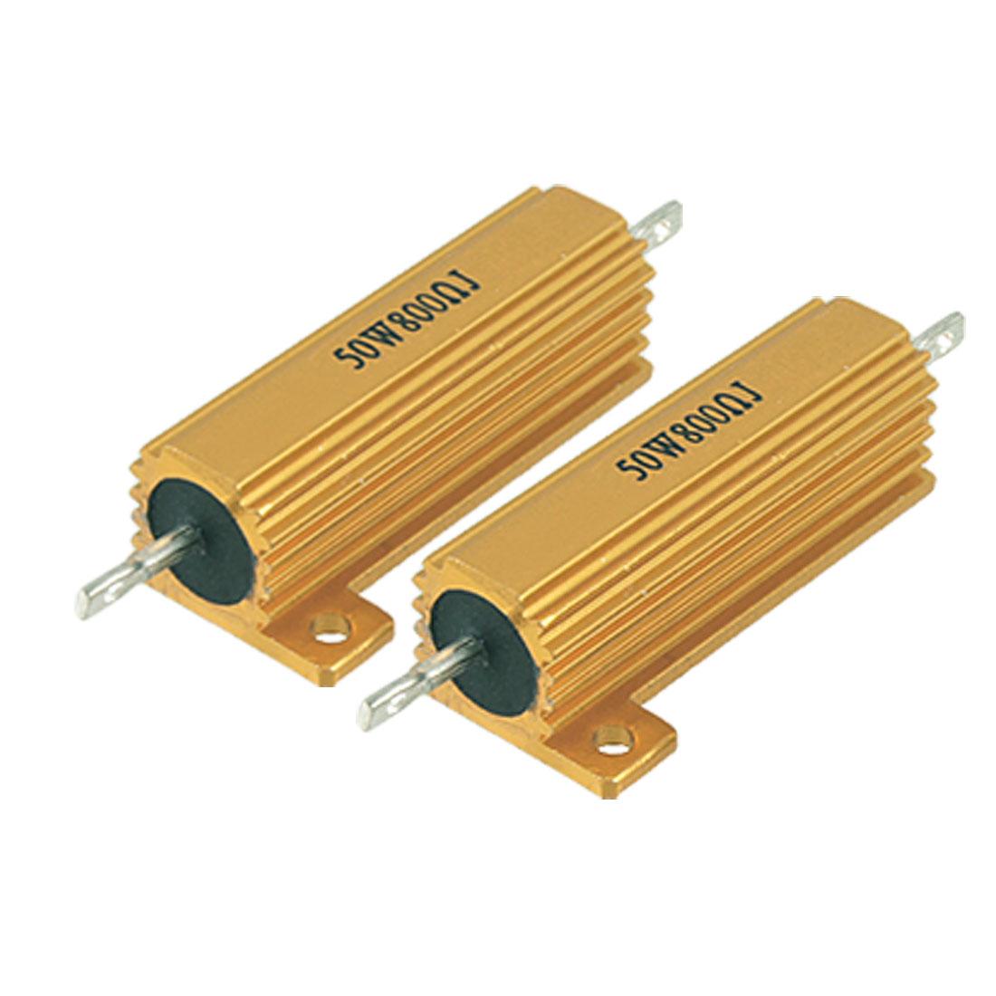 2 Pcs 50W Power 5% 800 Ohm Resistance Aluminum Shell Resistors