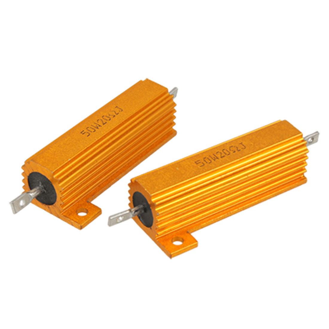 Electrical Gold Tone Aluminum Case 5% 20 Ohm Resistance Resistors 2 Pcs