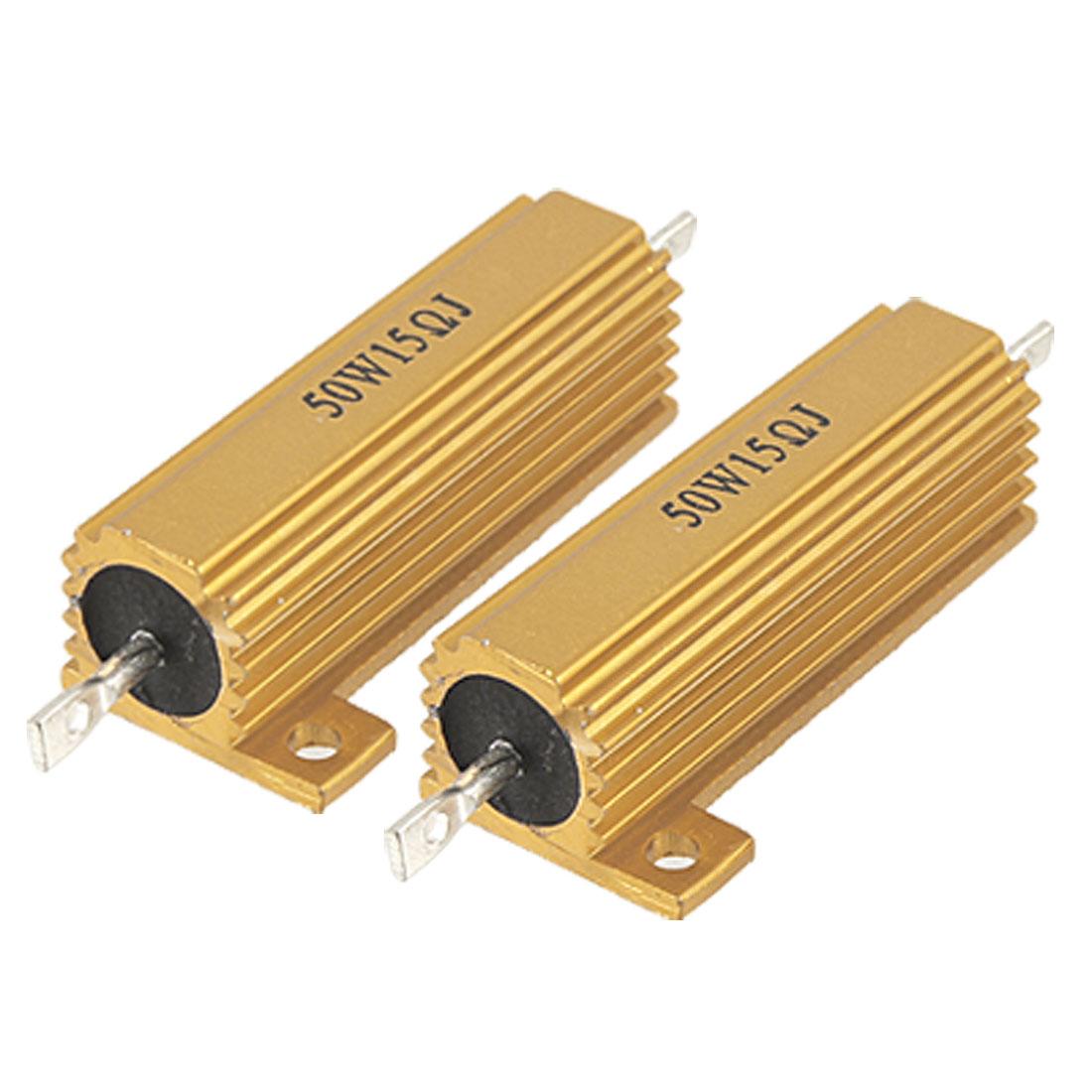 2 Pcs 50W Power 5% 15 Ohm Resistance Value Aluminum Case Resistors2