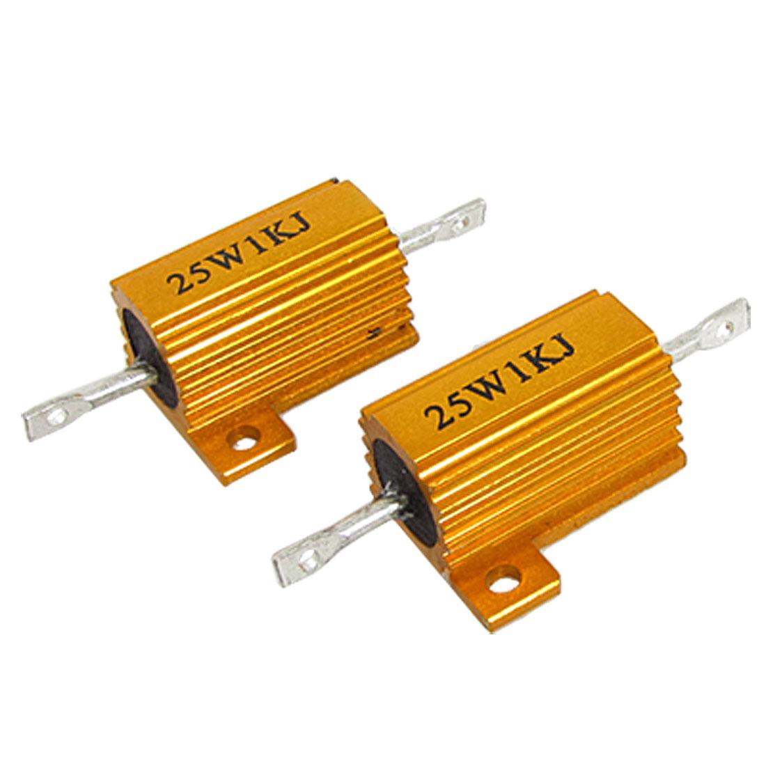 25W 1K Ohm 5% Gold Tone Aluminum Clad Wire Wound Resistors 2 Pcs