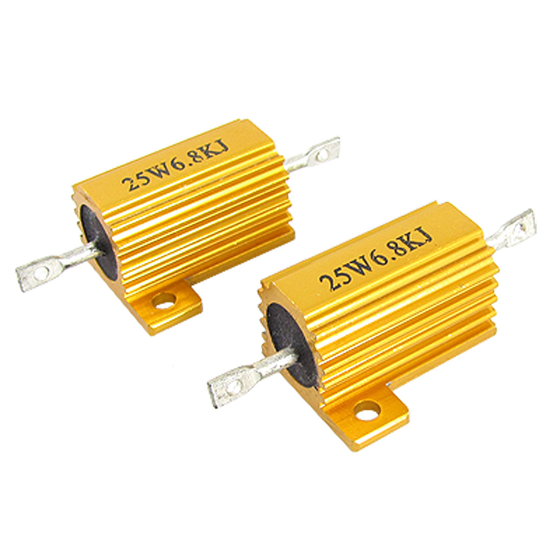 Gold Tone 25W 6.8K Ohm 5% Aluminum Housed Wirewound Resistors 2 Pcs