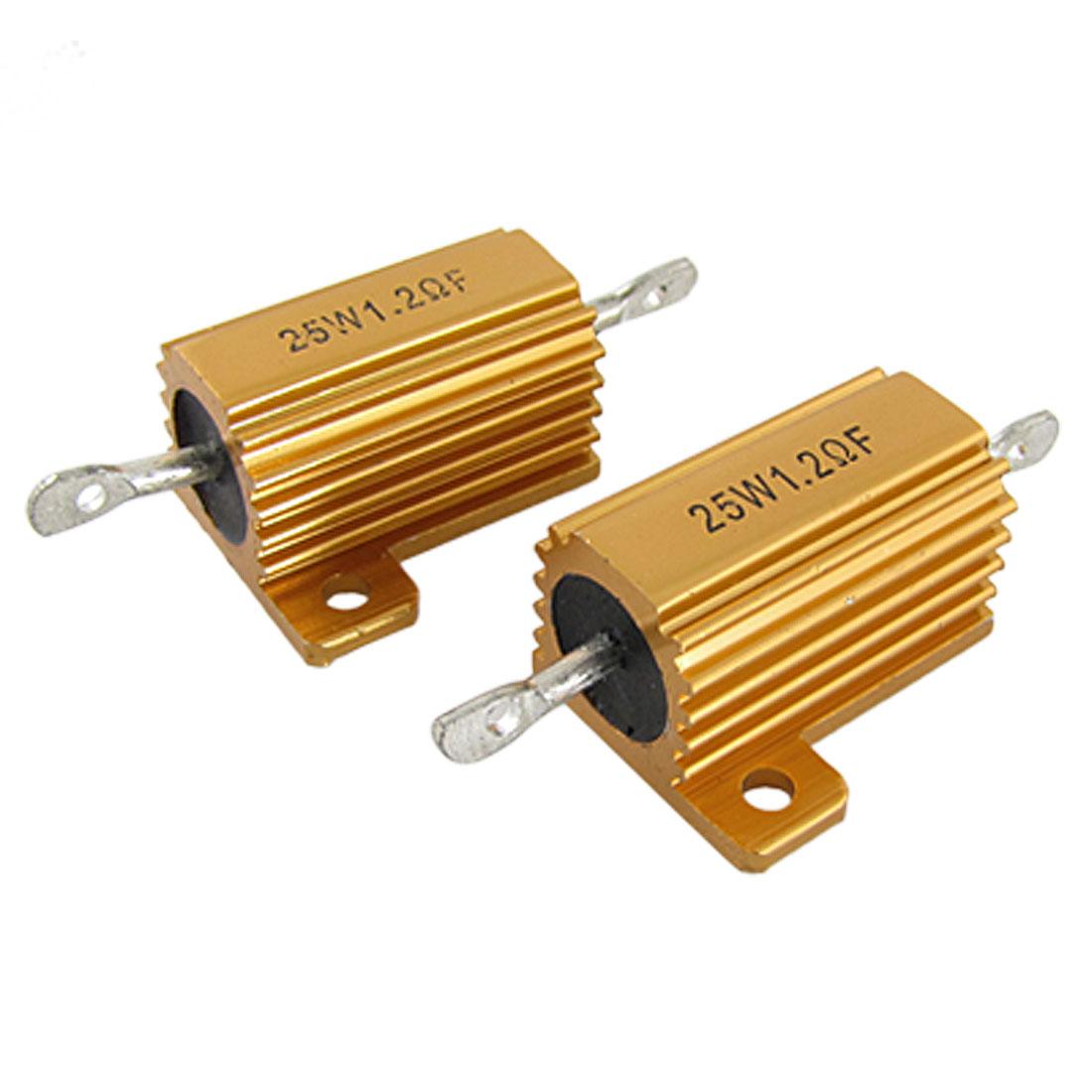 2 Pcs Gold Tone 25W 1.2 Ohm 1% Aluminum Case Wirewound Resistors