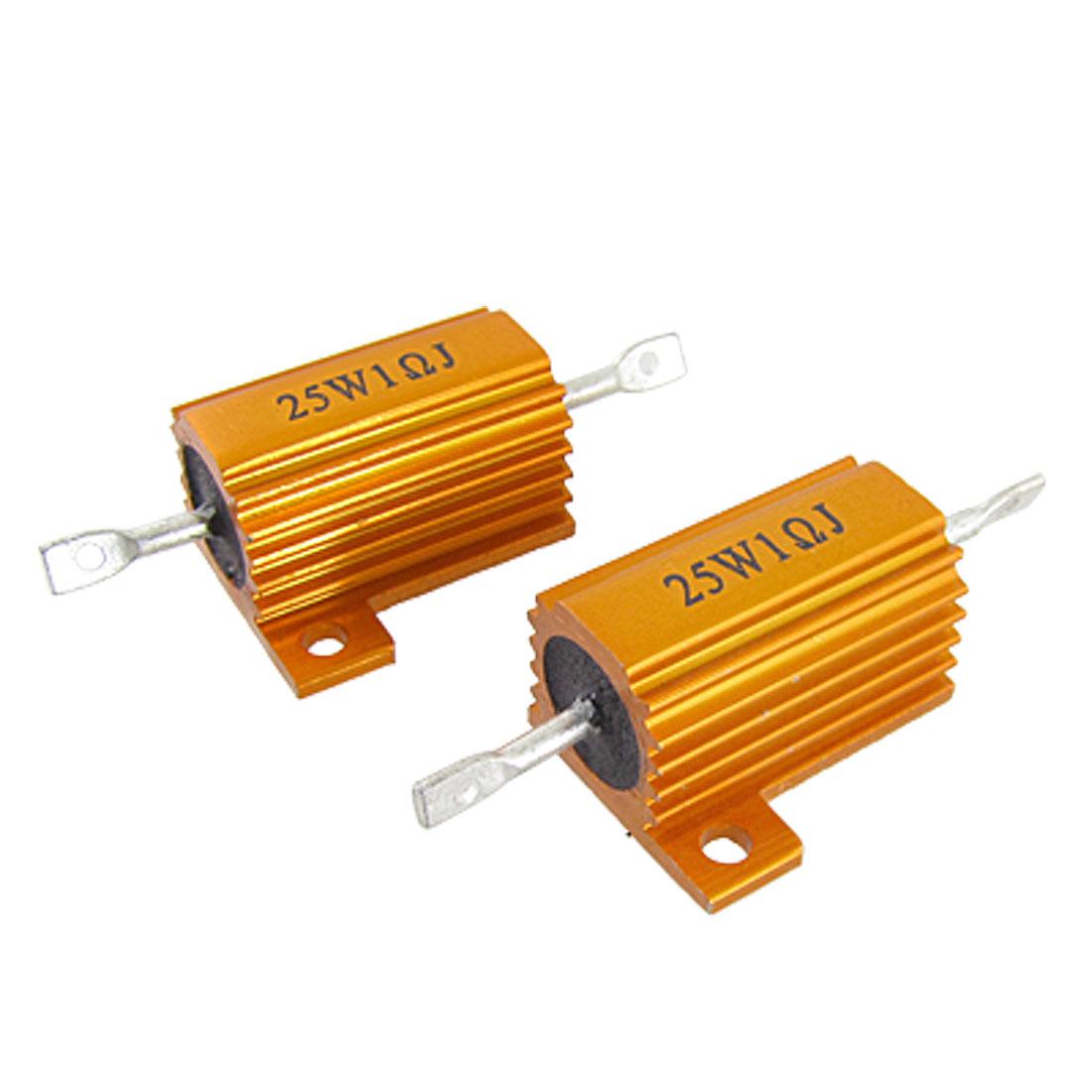 2 Pcs Gold Tone 25W 1 Ohm 5% Aluminum Clad Wire Wound Resistors