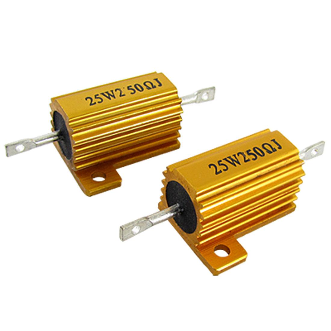 Wirewound Aluminium Case Housed Resistor 5% 25W 250 ohm 2pcs