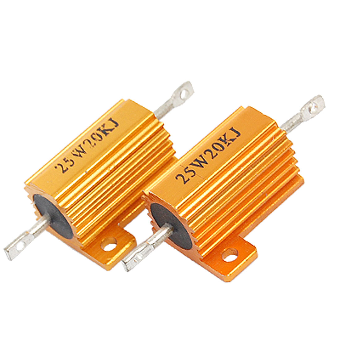 2 Pcs Chasis Mounted 25W 20K Ohm 5% Aluminum Case Wirewound Resistors