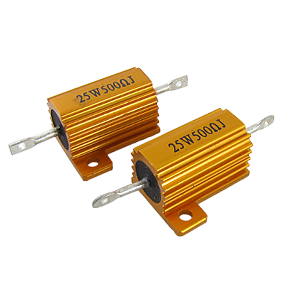 2 Pcs Gold Tone 25W 500 Ohm 5% Aluminum Housed Wire Wound Resistors