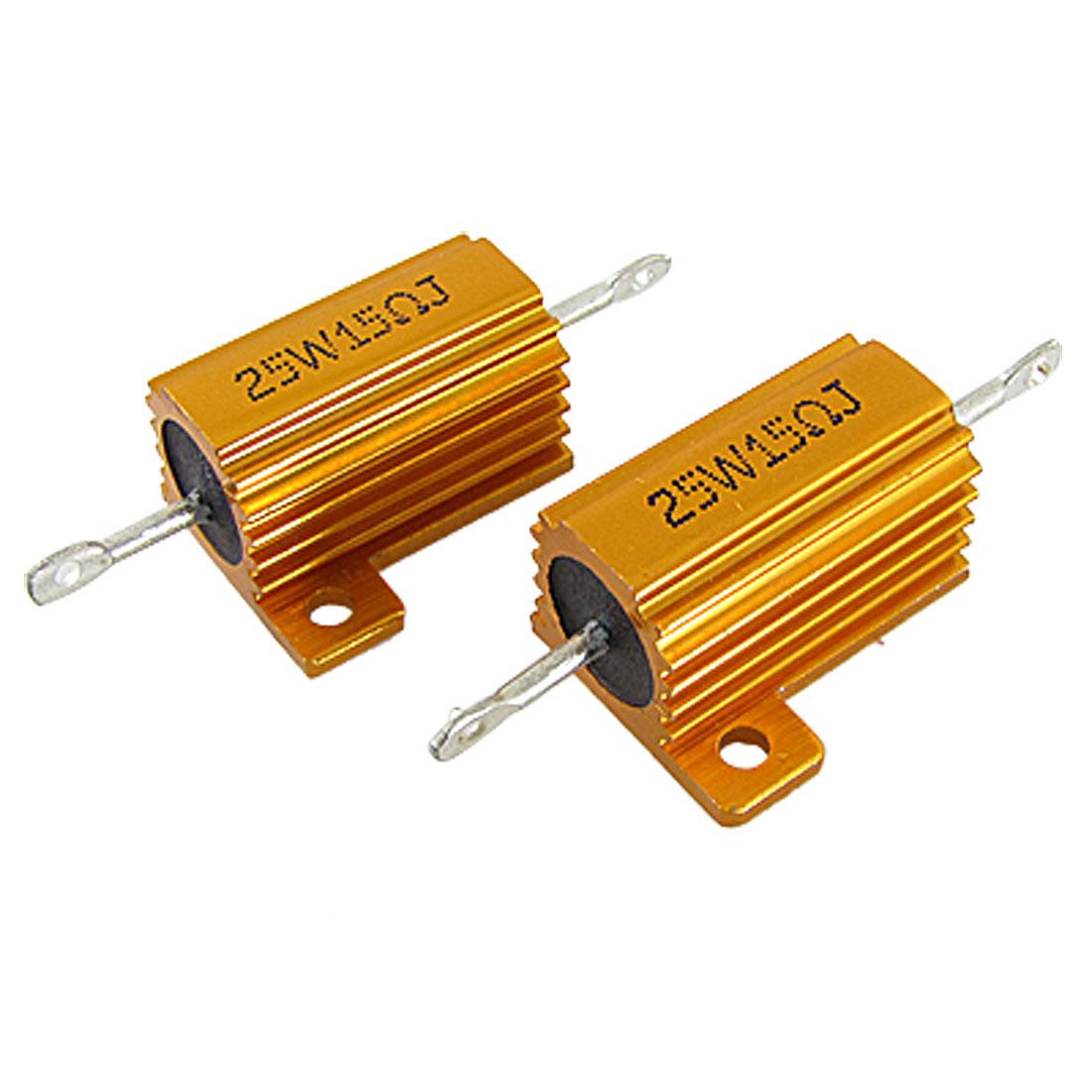 2 Pcs 25W 15 Ohm 5% Gold Tone Aluminum Case Wire Wound Resistors