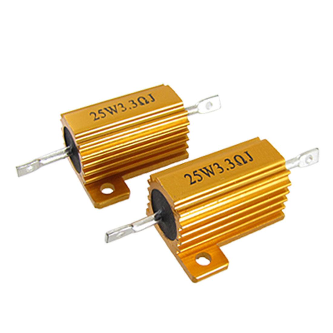 Gold Tone 25W 3.3 Ohm 5% Aluminum Case Wirewound Resistors 2 Pcs