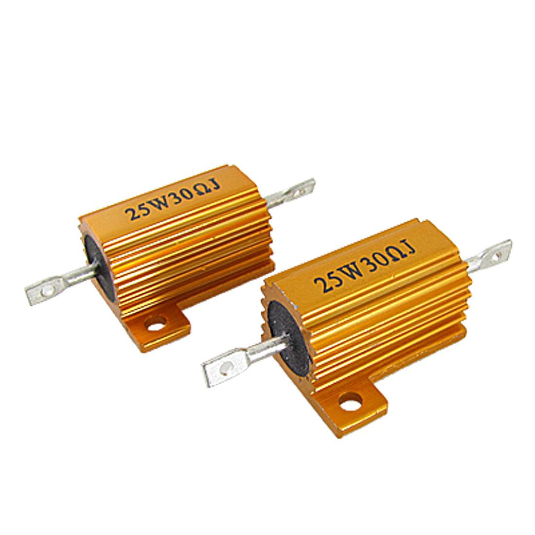 2 Pcs Gold Tone Aluminum Clad Wire Wound Resistors 25W 30 Ohm 5%