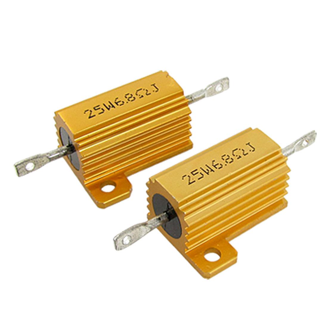 2 Pcs Gold Tone 25W 6.8 Ohm 5% Aluminum Case Wire Wound Resistors