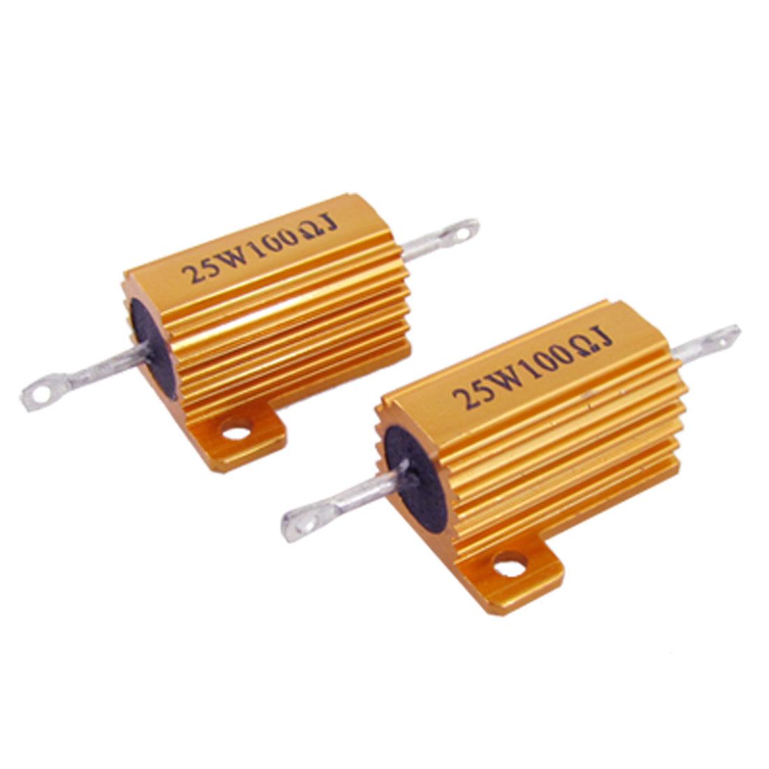 Gold Tone 25W 100 Ohm 5% Aluminum Clad Wire Wound Resistors 2 Pcs