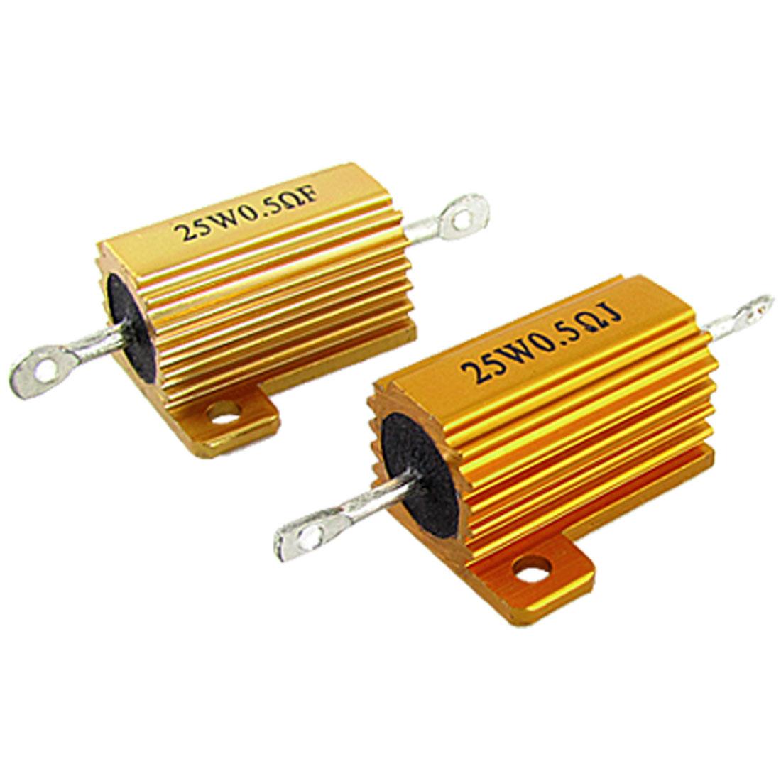 2 Pcs Gold Tone 25W 0.5 Ohm Aluminum Case Wirewound Resistors