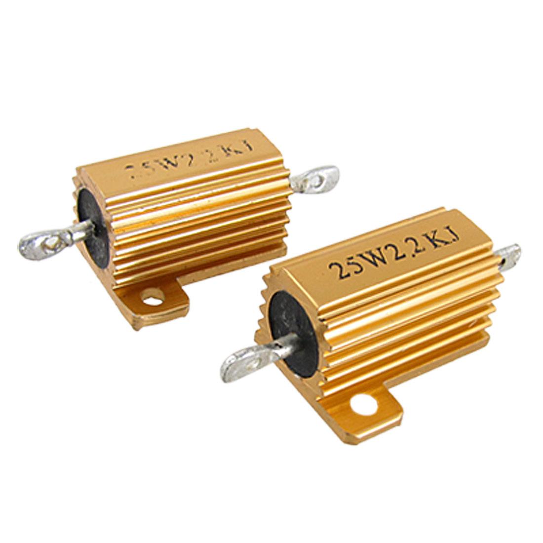 25W 2.2K Ohm 5% Aluminum Housed Wirewound Power Resistors 2 Pcs