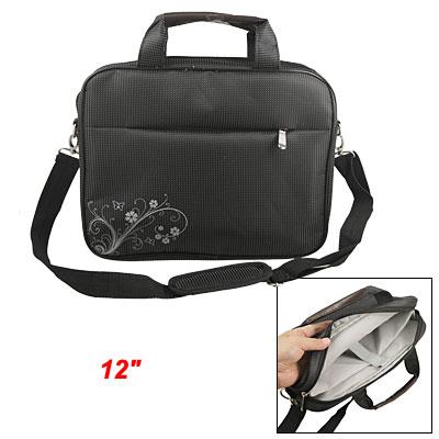 """White Dotted Flower Black Nylon Handbag w Shoulder Belt for 12"""" Laptop"""