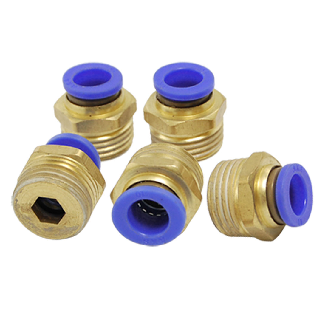 10mm x 20mm Threaded Quick Joint Pneumatic Fittings Connectors 5 Pcs