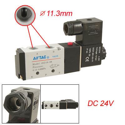 Single Coil 2 Position 5 Way Pneumatic Solenoid Valve DC 24V
