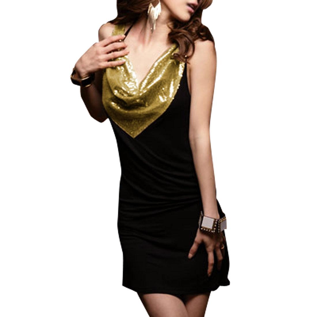 Ladies Gold Tone Sequin Cowl Neck Black Mini Tank Dress S