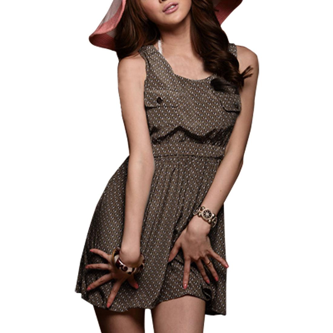 Ladies Coffee Color Sleeveless Scoop Neck Chiffon Tunic XS