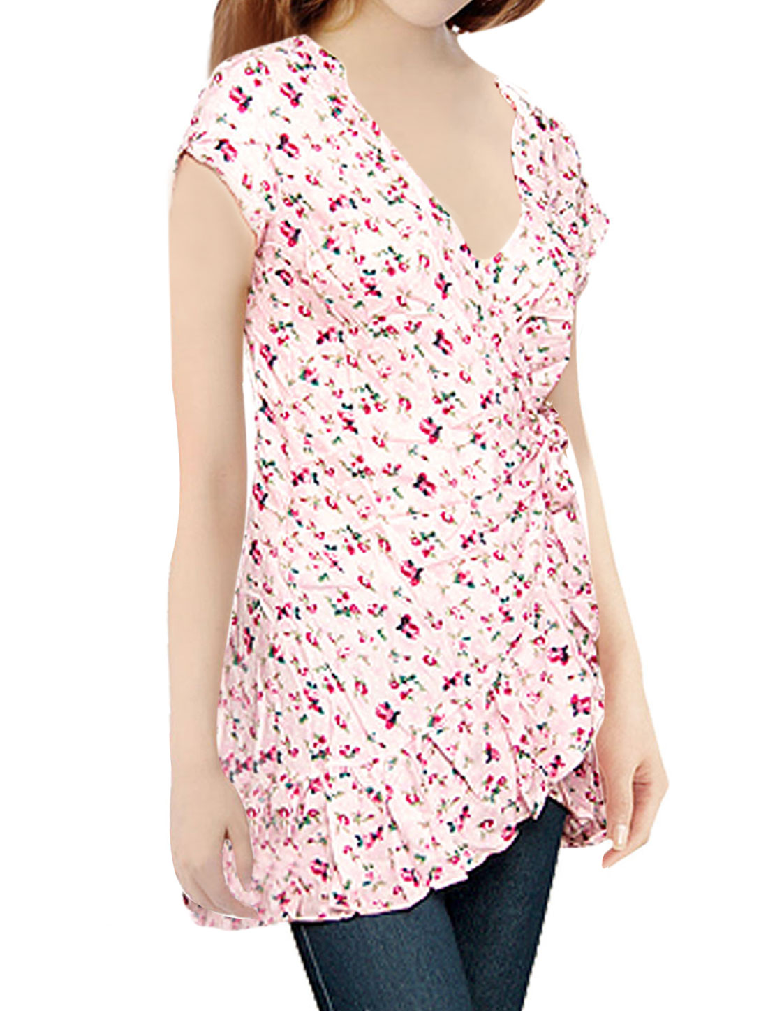Floral Self Tie Waist Ruffled Hem Shirt for Ladies