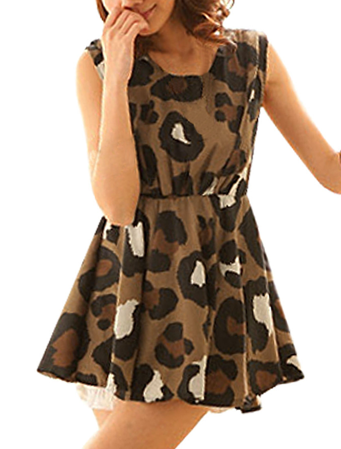 Ladies Elastic High Waist Leopard Print Brown Mini Dress XS