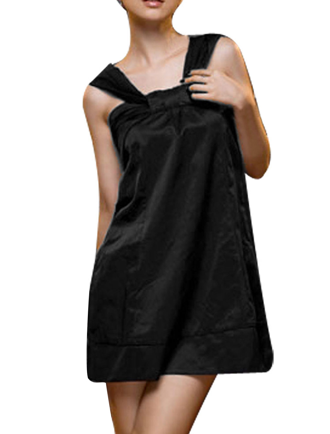 Halter Style Neck Knot Front Black Dress XS for Ladies