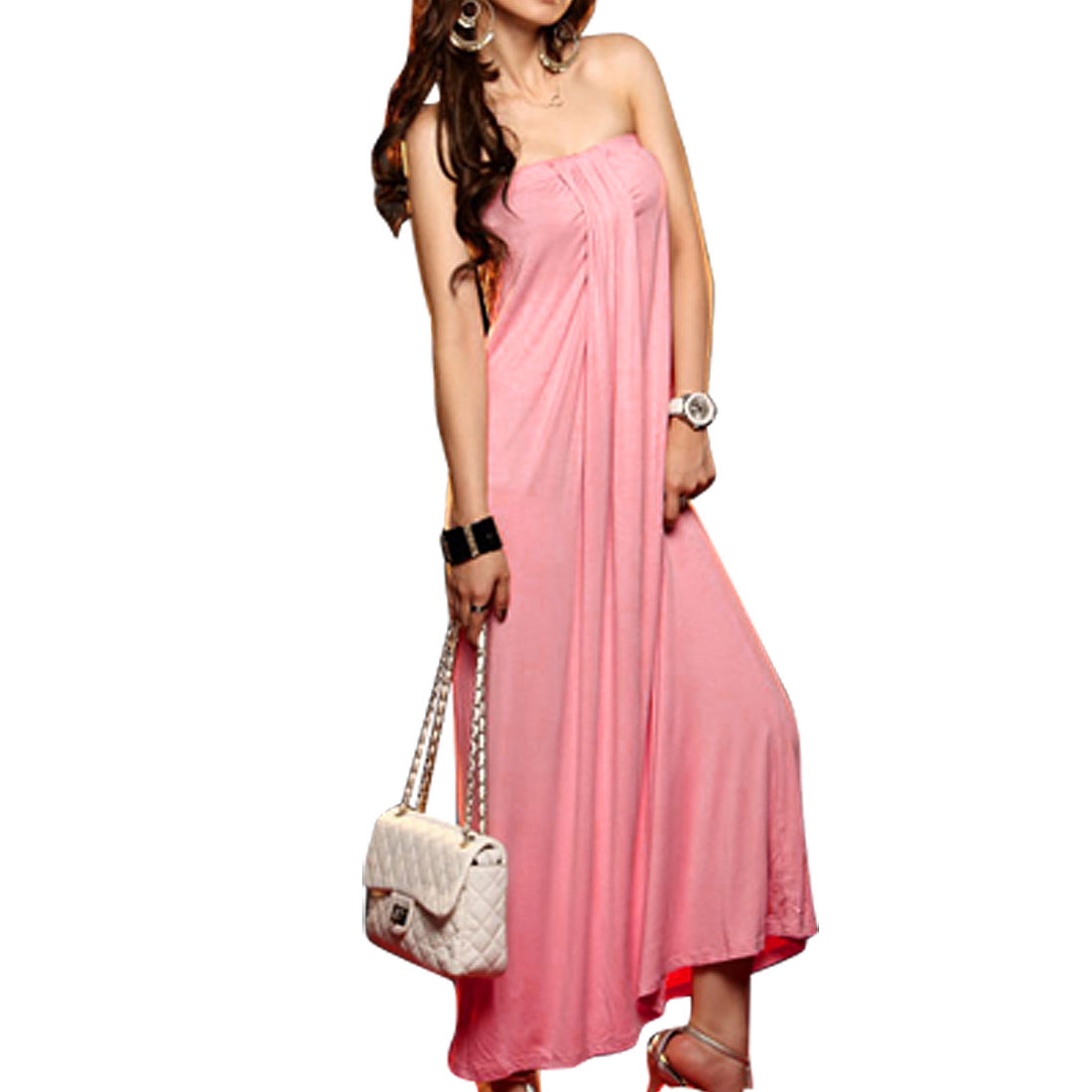 Elastic Top Pink Strapless Tube Dress XS for Ladies