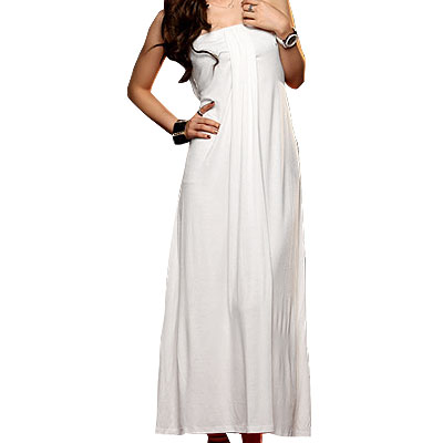 Ladies White Elastic Strapless Long Tube Dress XS