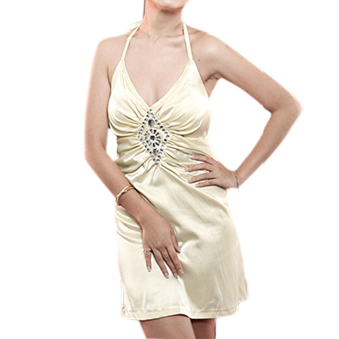 Ladies Plastic Crystal Decor Off White Halter Dress XS