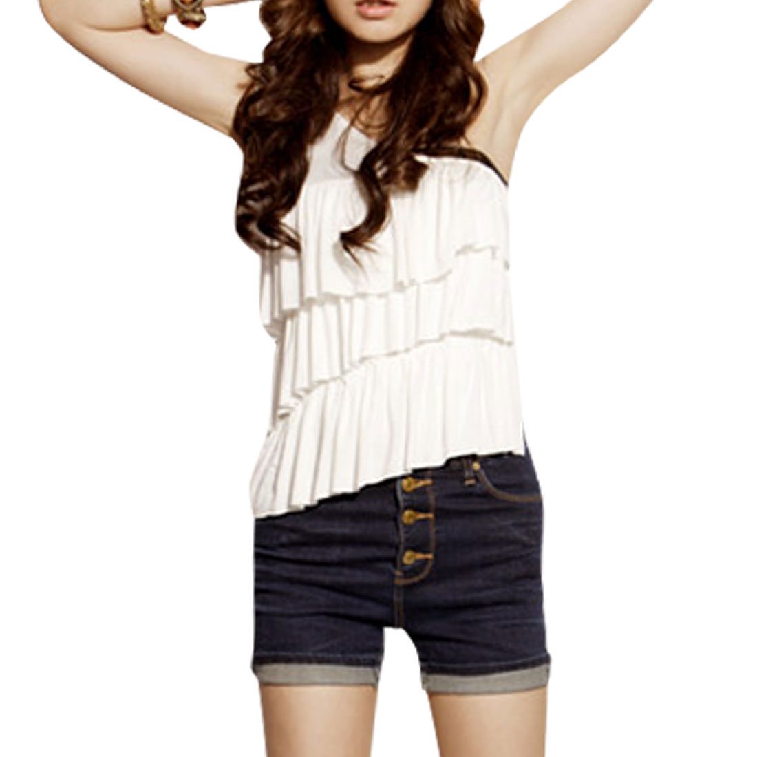 Single Shoulder Ruffled Front Sleeveless Shirt for Ladies