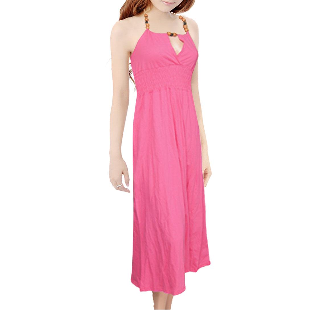 Ladies V Split Wooden Beads Halter Neck Fuchsia Dress XS
