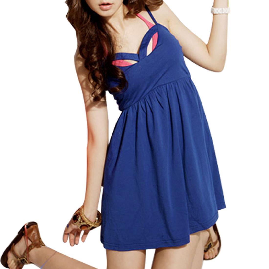 Ladies Blue Adjustable Strap Lining Mini Dress XS