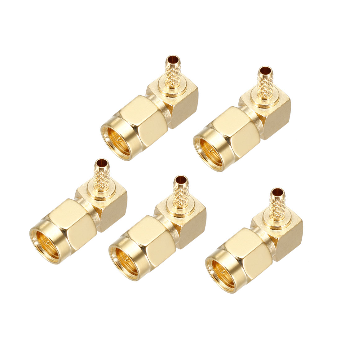 5x SMA Male Plug Right Angle Crimp RG174 RG316 LMR100 RF Connector