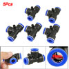 10mm to 10mm T Shape Push In One Touch Connector 5 Pcs