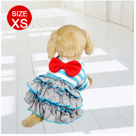 Sz XS Round Neck Ruffled Blue White Dog Dress Clothes