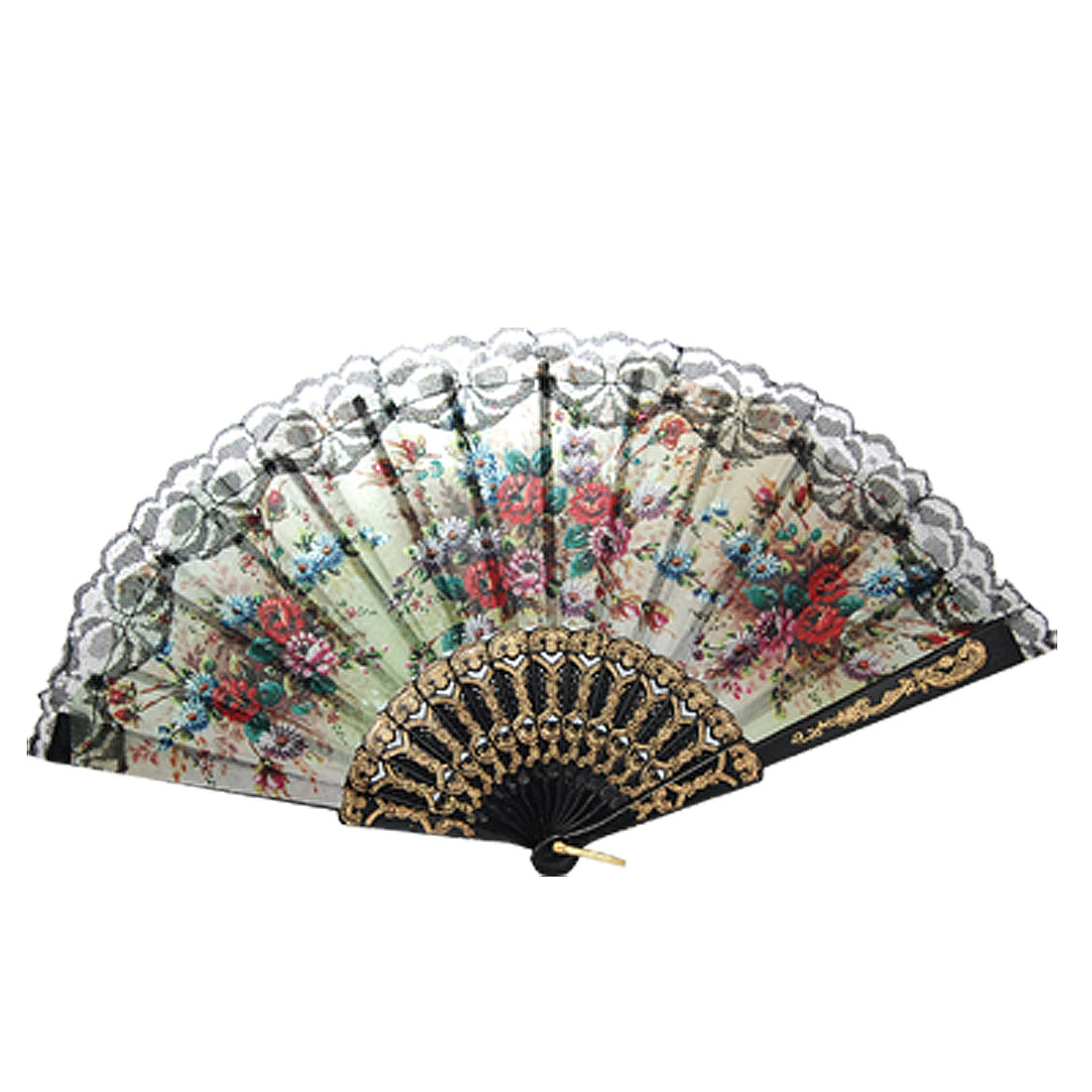 Decorative Allover Pattern Cut Out Plastic Frame Folded Hand Fan