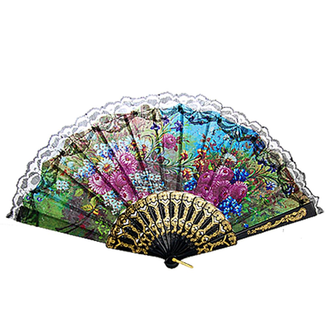 Colorful Floral Pattern Lace Trim Accent Cutout Hand Folding Fan