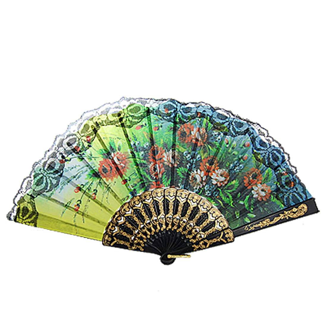 Wedding Decor Colored Flower Print Black Gold Tone Plastic Frame Folded Hand Fan